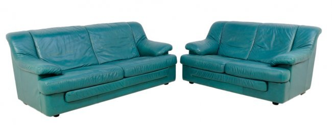 Teal leather sofa cindy crawford home marcella spa blue for Teal leather couch