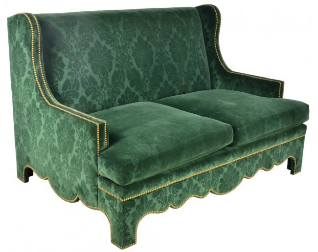 42 A Vintage Wingback Green Velvet Sofa Lot 42