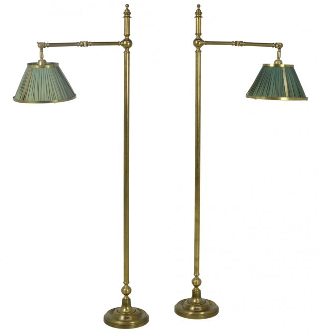 Brass Floor Lamps With Swing Arm: 236: A PAIR OF VINTAGE BRASS SWING ARM FLOOR LAMPS : Lot 236