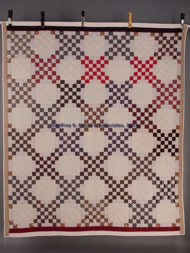 Quilt Pattern For Double Irish Chain : 357: AMERICAN DOUBLE IRISH CHAIN PATTERN PIECED QUILT : Lot 357