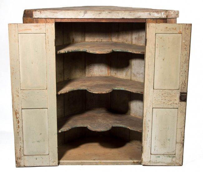 Southern yellow pine blind door corner cupboard top lot 226 for Yellow pine wood doors