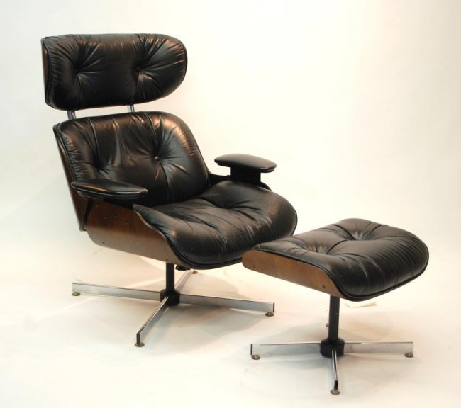 40 Eames Style Leather Lounge Chair And Ottoman Lot 40