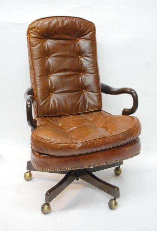 287 Tufted Leather fice Chair with Nailhead Trim Lot 287