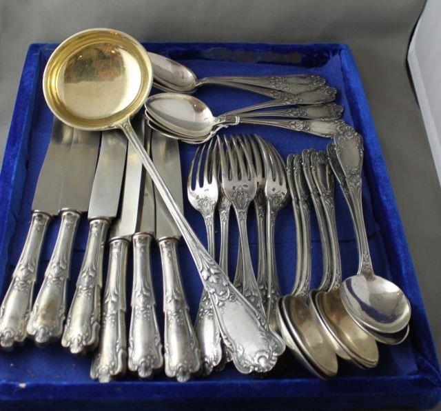 Good Heavy Russian Silver Cutlery Set Lot 393