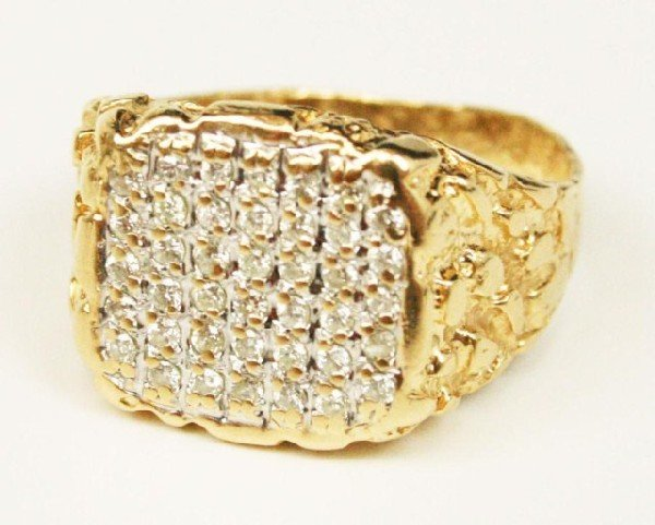 mens 14k gold nugget ring with diamonds lot 90218n
