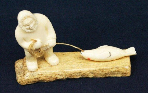 Alaskan eskimo walrus ivory tusk seal hunt carving lot