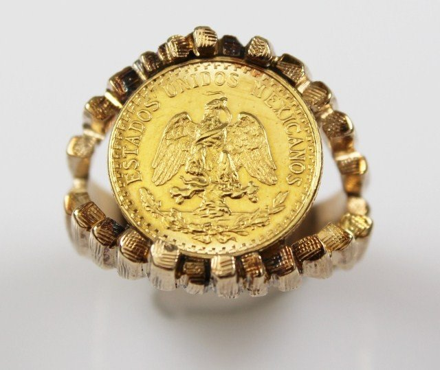 14k gold mexican dos peso coin ring lot 73414a