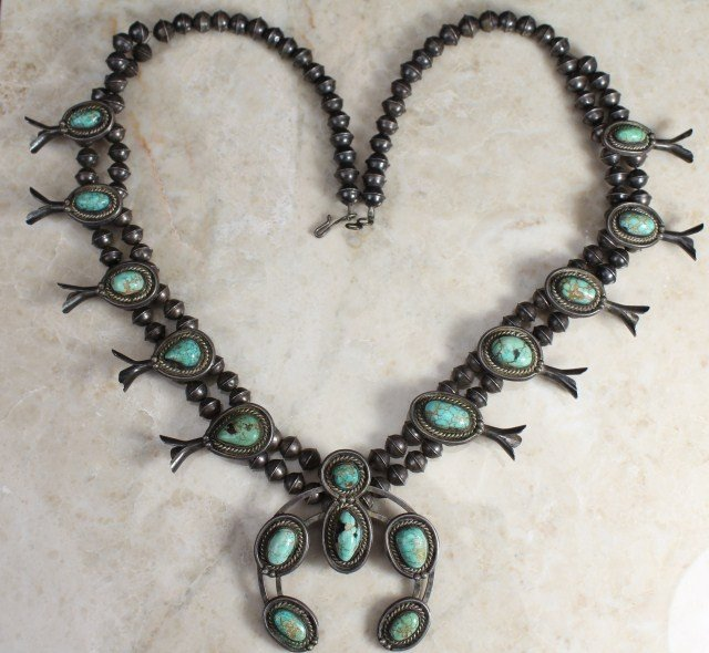 silver turquoise squash blossom necklace lot 16071