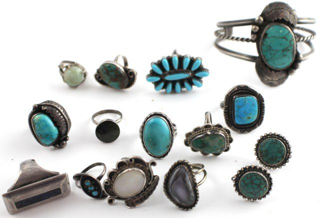 lot turquoise mexican sterling silver rings jewelry