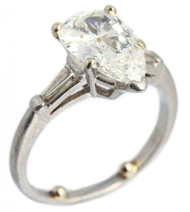 2 5CT PLATINUM & PEAR DIAMOND ENGAGEMENT RING Lot
