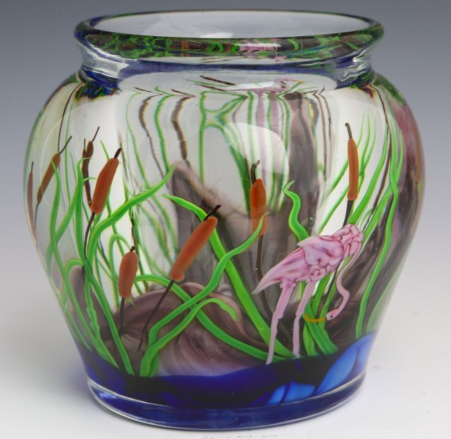 Steven Lundberg Studios Art Glass Vase Signed Lot 35239