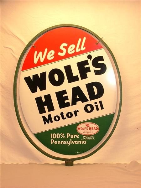 109 we sell wolf 39 s head motor oil curb sign dst sig for Sell used motor oil