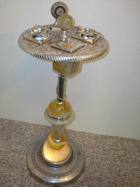 54 Art Deco Mico Chrome And Onyx Smoking Stand Lot 54