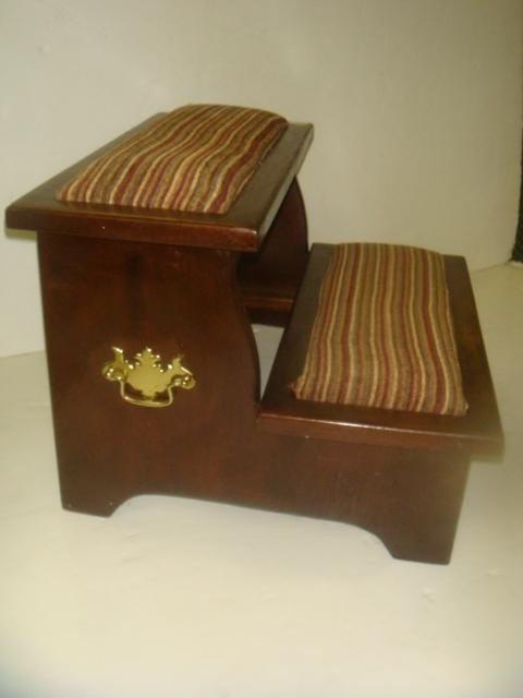Bed Step Stool: 16: Mahogany Two Step Upholstered Bed Stool: : Lot 16