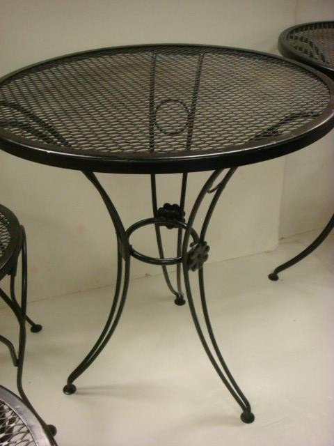 228 pair of wrought iron bistro tables and chairs lot 228 for Wrought iron cafe chairs