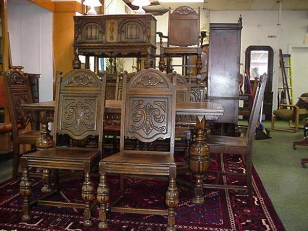 558 11 piece oak gothic influenced dining room set lot 558