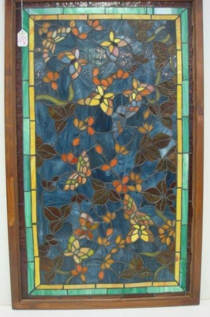 220b floral framed stained glass butterfly panel lot 220b