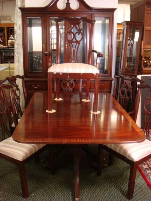 national eight piece mahogany dining room set lot 135