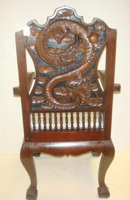 Rosewood South East Asia ~ Rosewood southeast asian back carved dragon arm chair