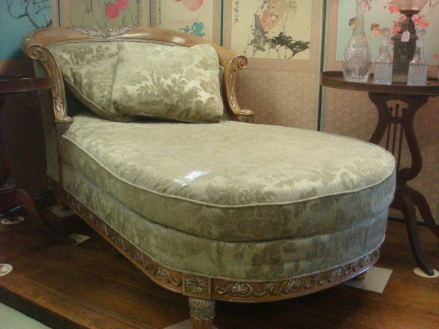 Schnadig carved wood chaise and green floral chenille for Carved wooden chaise