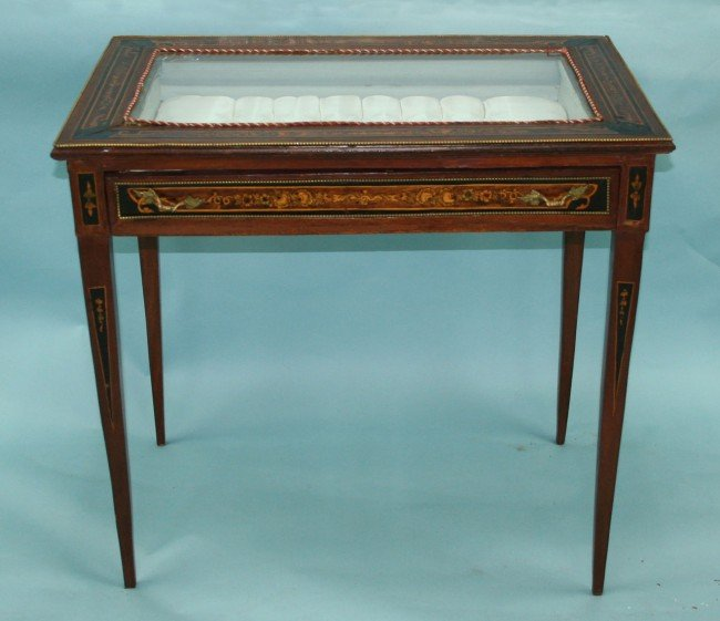 41 a marquetry inlaid antique vitrine table raised on for Table vitrine
