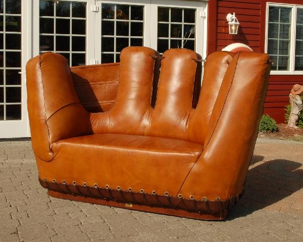 375 leather baseball glove shaped couch images frompo Baseball sofa