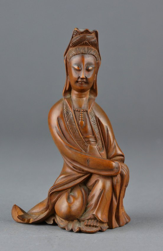 Antique chinese boxwood carved figure of guanyin