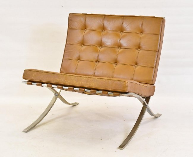 knoll barcelona chrome and leather lounge chair lot 43