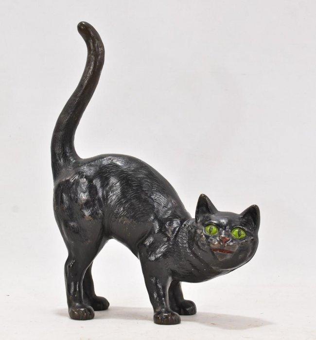 Hubley black cat painted cast iron doorstop lot 206 - Cast iron cat doorstop ...
