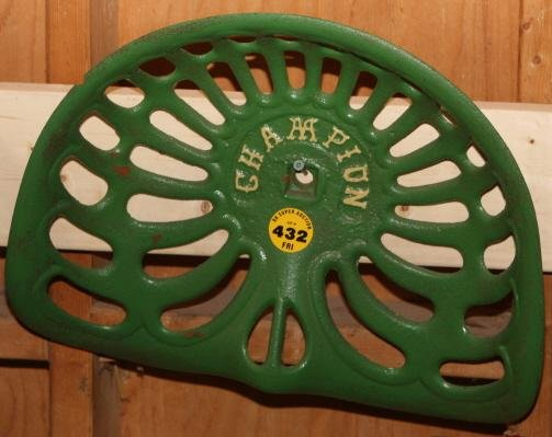 Champion Tractor Seats : Cast iron tractor seat champion green lot