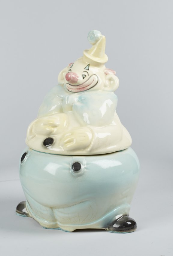Brush Pottery Clown W Blue Pants Ceramic Cookie Jar Lot 5