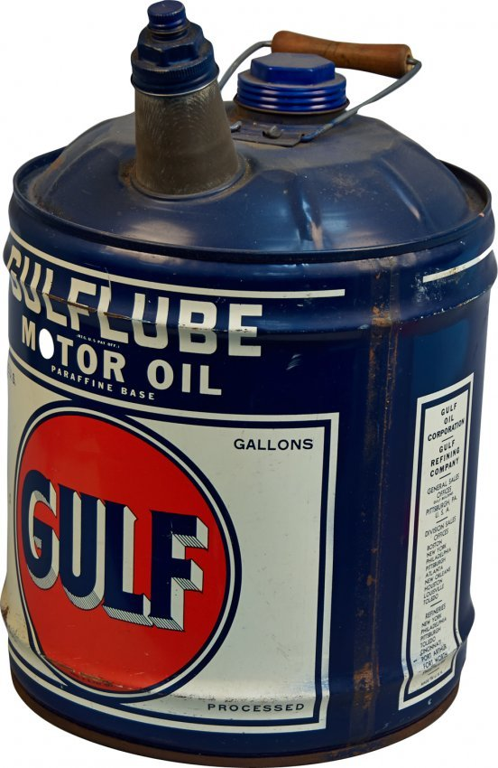 5 gallon gulf gulflube motor oil metal can w handle for Gallon of motor oil