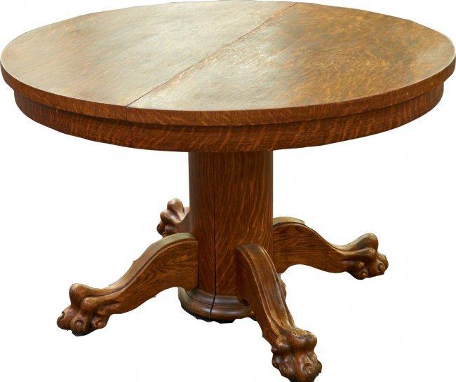 Round quartersawn oak original claw foot table lot