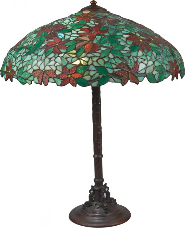 antique handel table lamp w leaded stained glass shade lot 1538. Black Bedroom Furniture Sets. Home Design Ideas