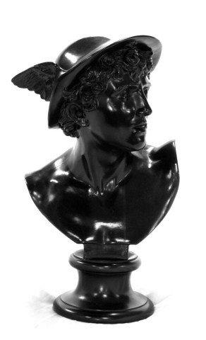 WEDGWOOD BLACK BASALT ROMAN GOD MERCURY BUST : Lot 184