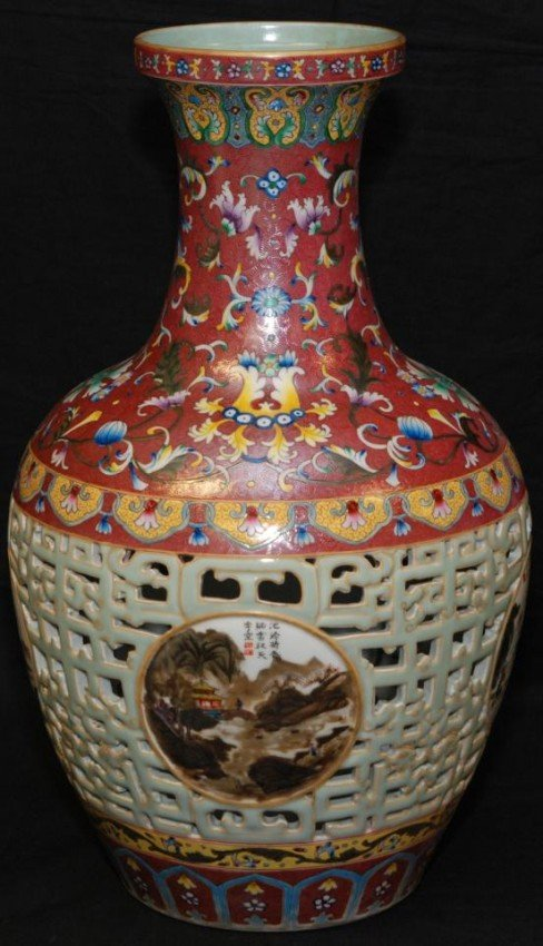 "36"" Chinese Hand Painted Vase Jingdezhen for sale in Kansas City"
