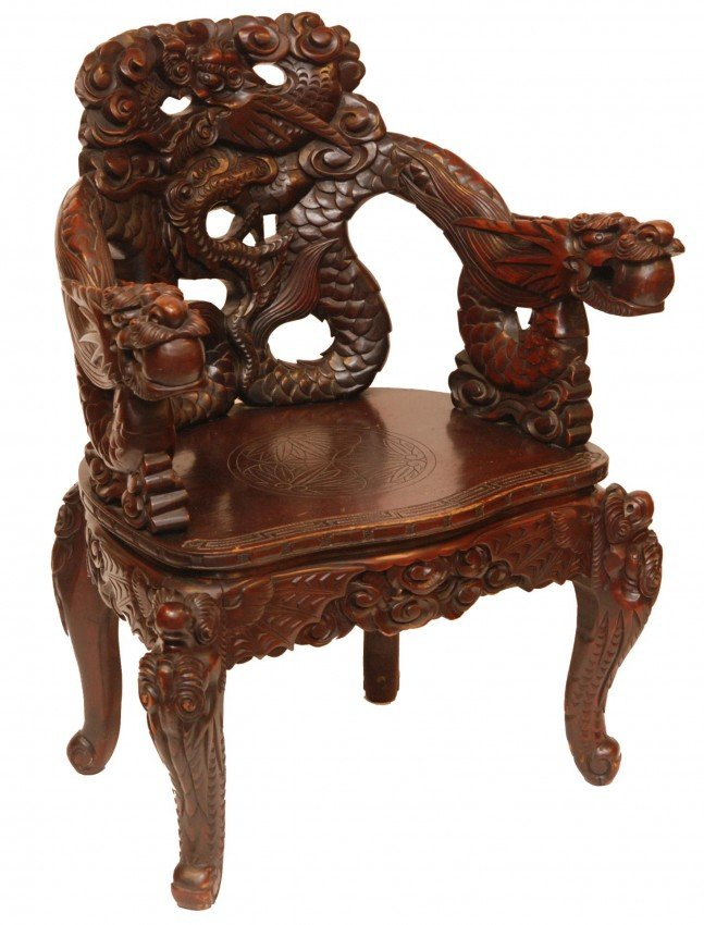 557 chinese carved wooden dragons chair lot 557