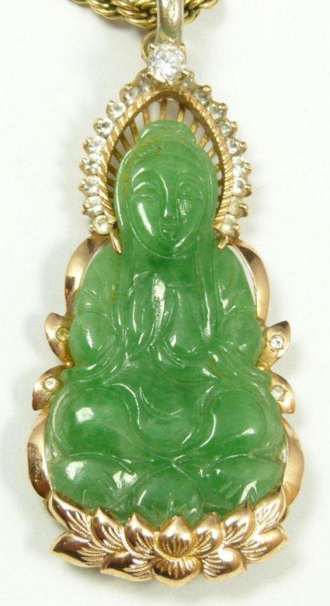 494 jade quan yin pendant w stones lot 494