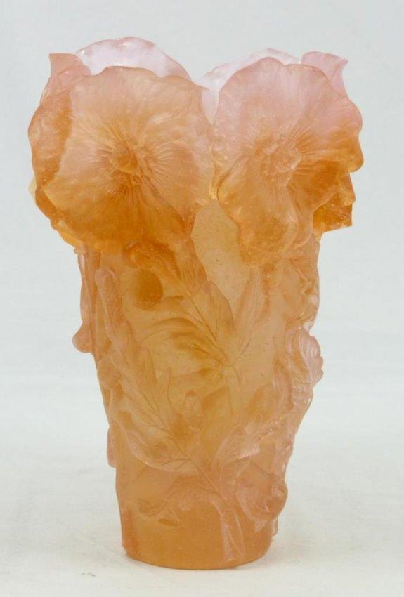daum pate de verre orange floral vase lot 224. Black Bedroom Furniture Sets. Home Design Ideas