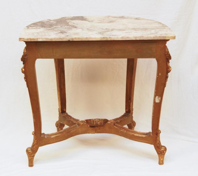 Antique french marble top half moon table lot 235 for 1 2 moon table