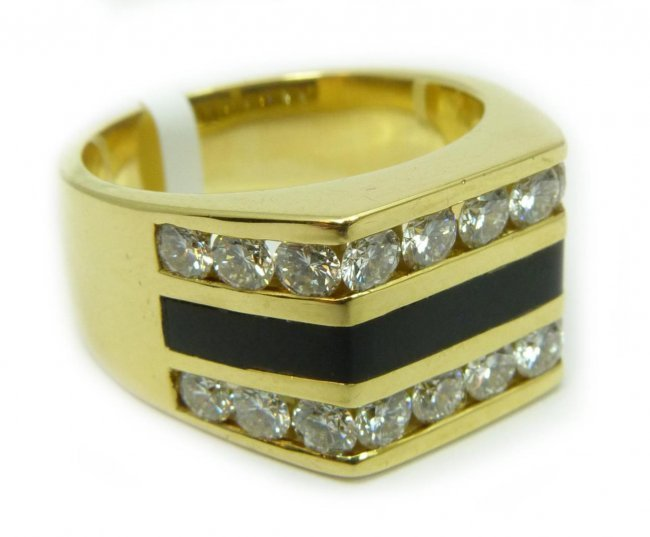 gents 18k yg 2 00ctw and black coral ring