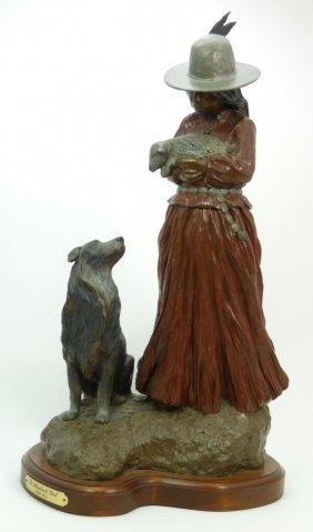 JUAN DELL 'THE SHEPHERD GIRL' BRONZE SCULPTURE : Lot 279