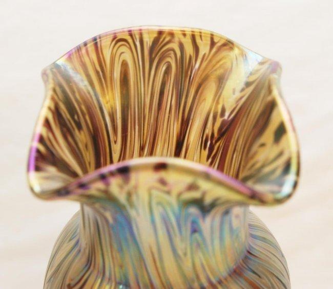 Pr LOETZ IRIDESCENT RUFFLED RIM ART GLASS VASES : Lot 110 Irridescent Ruffled Art Glass Vase