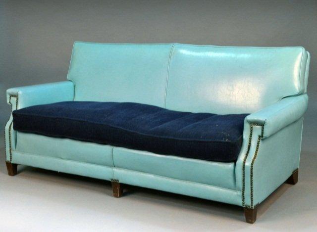 298 blue leather sofa lot 298