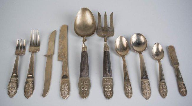 Thai brass flatware service lot 699 - Thai silverware ...