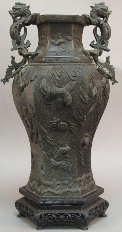 Asian Decor: Large Celadon Vase or Umbrella Stand from China