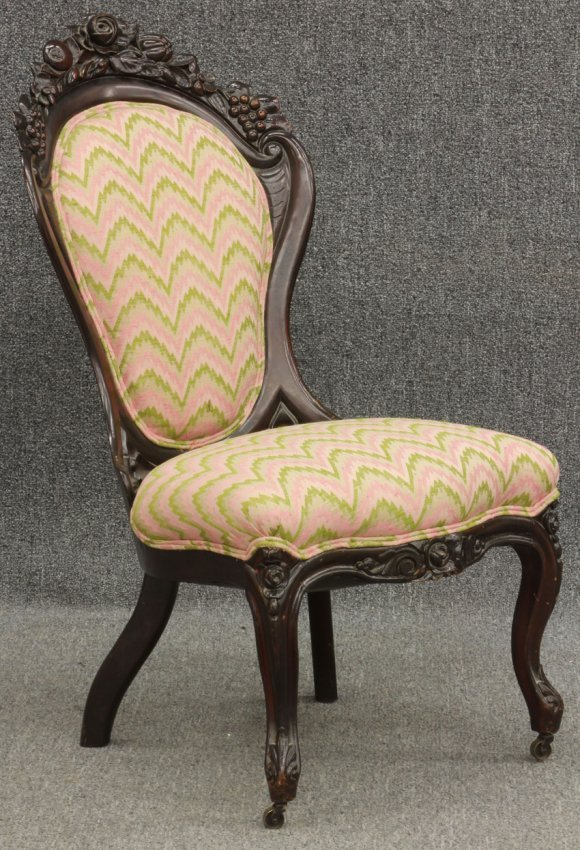 VICTORIAN ROSEWOOD PARLOR CHAIR Lot 50