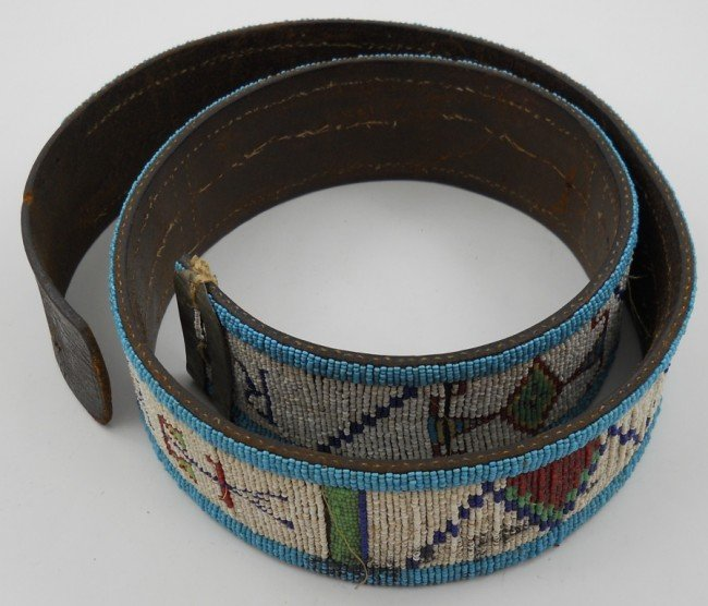189 american indian beaded leather belt lot 189