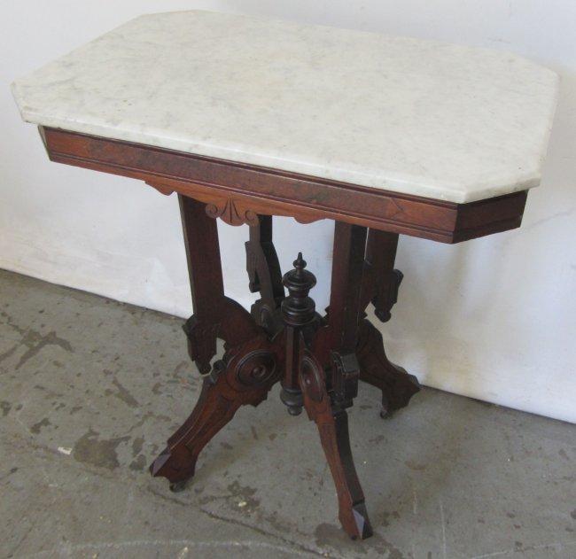 Eastlake Walnut Victorian Marble Top Table Lot 175