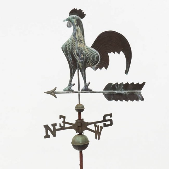 Antique Rooster Weathervane: Antique Copper Full Body Rooster Weathervane : Lot 356
